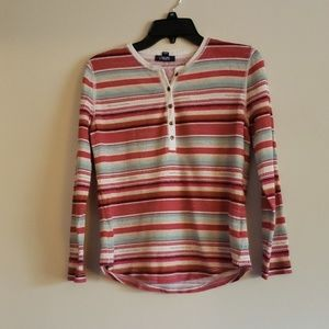3/$25 Beautiful Striped Long Sleeve Shirt By Chaps